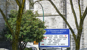 St Andrews Wesley United Church in Vancouver - VANCOUVER - CANADA - APRIL 12, 2017. St Andrews Wesley United Church in Vancouver - CANADA stock photos