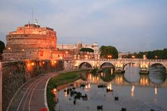 St. Angel Castle by night in Rome Royalty Free Stock Photos