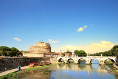 St. Angel Castle, Rome, Italy. St. Angel Castle and bridge over the Tiber river, Rome, Italy Royalty Free Stock Photos