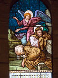 St. Angel Talking To. Joseph, Stained Glass Window Of The Church Royalty Free Stock Images