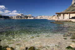 St Angelo from Bighi. Fort St. Angelo across Kalkara Creek from the lift at Bighi's ex- Royal Naval Hospital Royalty Free Stock Photos