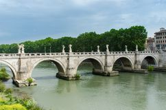 St. Angelo Bridge, built by the Roman Emporer Hadrian, is a pede. Strian bridge. Spanning the River Tiber., it was built in 134 A.D., with travertine marble Royalty Free Stock Photos