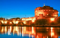 St.Angelo Bridge and Castle by night, Rome, Italy Royalty Free Stock Images