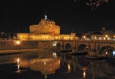 St Angelo bridge at night. Castle of St Angelo by night, Rome, Italy Royalty Free Stock Photography