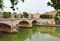 River Tiber bridge Rome Italy Royalty Free Stock Photography