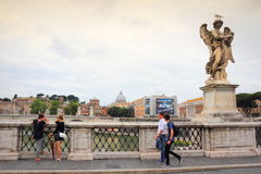 St. Angelo bridge view Rome Italy Stock Image