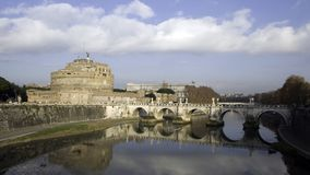 St-Angelo Castle. Monumental fortress, Castel St-Angelo in Vatican City, previously the single access to the holy See Stock Image