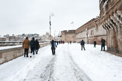 St Angelo Castle side winter view in Rome Royalty Free Stock Photography