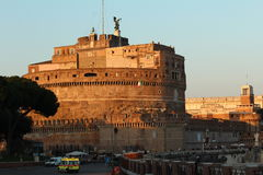 St Angelo Castle at sunset. Grandiose fortress at sunset in Rome, Italy. Historically used by the pope, it is now one of the most important historical buildings Royalty Free Stock Image