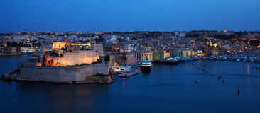 St. Angelo Fort  in  night. Malta Stock Photo