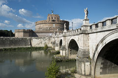 St Angelo IV (The Mausoleum of Hadrian). St Angelo IV (The Mausoleum of Hardian) in Rome with the river Tiber bridge Stock Photo