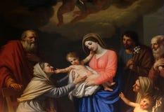 St Ann adora al niño Foto de archivo libre de regalías