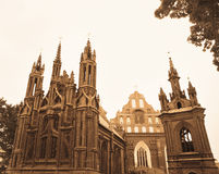 St. Ann's Church in Vilnius old town, Lithuania. Well-toned sepia image of Roman catholic Gothic monastery and St. Ann's Church in Vilnius old town royalty free stock images