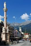 St. Anna's Column in Innsbruck. The historical town square on Maria-Theresa street in Innsbruck - Austria Royalty Free Stock Images