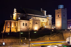 St Anne Church at Night in Warsaw Royalty Free Stock Images
