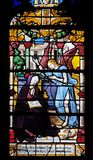 St. Anne received the vision of the angel who announced the birth of Mary. Stained glass windows in the Saint Gervais and Saint Protais Church, Paris stock image