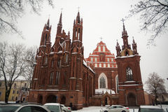 St Anne`s and Bernadine`s Churches in Vilnius Lithuania beautiful architecture of Baltic States in winter during Christmas holid Royalty Free Stock Images