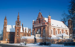 St Anne's and Bernardinu Churches in Vilnius stock photography