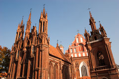St. Anne's Church. And Church of St. Francis and Bernadine ensemble in Vilnius, Lithuania Royalty Free Stock Photos