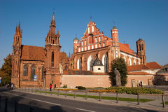 St. Anne's Church. And Church of St. Francis and Bernadine ensemble in Vilnius, Lithuania Stock Photos