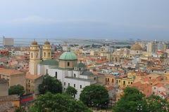 St- Anne` s Kirche vom bastione von Santa Croce in Cagliari Sardinien Italien lizenzfreie stockbilder