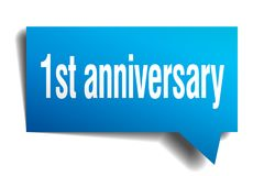 1st anniversary blue 3d speech bubble. 1st anniversary blue 3d square isolated speech bubble Stock Images