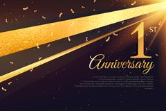 1st anniversary celebration card template. Vector stock illustration