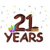 21st anniversary celebration design, with gift box. Vector illustration Stock Image