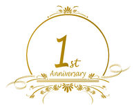1st Anniversary design. Floral design for a 1st anniversary of a marriage or business.vector available Royalty Free Stock Images