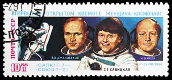 1st Anniversary of First Space-walk by Woman Cosmonaut, circa 1985. MOSCOW, RUSSIA - MAY 25, 2019: Postage stamp printed in Soviet Union (Russia) devoted to 1st royalty free stock photos
