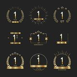 1st anniversary logo collection. Vector stock illustration