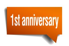 1st anniversary orange 3d speech bubble. 1st anniversary orange 3d square isolated speech bubble Stock Photography