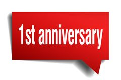 1st anniversary red 3d speech bubble. 1st anniversary red 3d square isolated speech bubble Stock Image