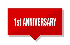 1st anniversary price tag. 1st anniversary red square price tag Stock Images