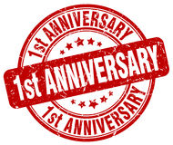 1st anniversary red stamp Stock Photo