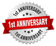 1st anniversary badge. 1st anniversary round badge with ribbon Stock Image
