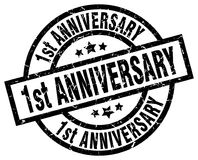 1st anniversary round grunge stamp Stock Photo