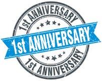 1st anniversary round grunge stamp Stock Images