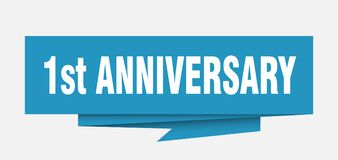 1st anniversary. Sign.  paper origami speech bubble.  tag.  banner royalty free illustration