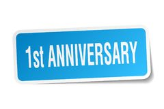 1st anniversary sticker. 1st anniversary square sticker isolated on white background. 1st anniversary Royalty Free Stock Images