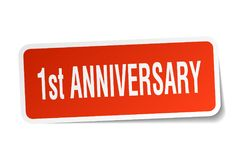 1st anniversary sticker. 1st anniversary square sticker isolated on white background. 1st anniversary Stock Images
