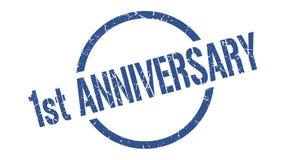 1st anniversary stamp. 1st anniversary round grunge stamp. 1st anniversary sign. 1st anniversary vector illustration
