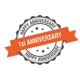 1st anniversary stamp illustration. 1st anniversary stamp seal illustration design Stock Photo