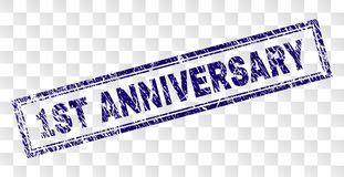 Scratched 1ST ANNIVERSARY Rectangle Stamp. 1ST ANNIVERSARY stamp seal print with rubber print style and double framed rectangle shape. Stamp is placed on a vector illustration