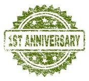 Grunge Textured 1ST ANNIVERSARY Stamp Seal. 1ST ANNIVERSARY stamp seal watermark with rubber print style. Green rubber print of 1ST ANNIVERSARY tag with unclean Vector Illustration