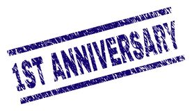 Scratched Textured 1ST ANNIVERSARY Stamp Seal. 1ST ANNIVERSARY stamp seal watermark with scratced style. Blue rubber print of 1ST ANNIVERSARY text with dust Royalty Free Illustration