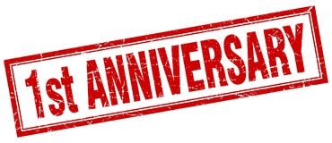 1st anniversary stamp. 1st anniversary square grunge stamp. 1st anniversary sign. 1st anniversary Vector Illustration