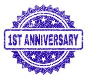 Scratched 1ST ANNIVERSARY Stamp Seal. 1ST ANNIVERSARY stamp watermark with grunge style. Blue vector rubber seal print of 1ST ANNIVERSARY tag with grunge texture Vector Illustration