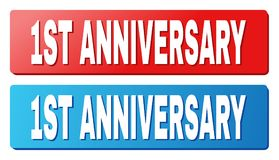 1ST ANNIVERSARY Text on Blue and Red Rectangle Buttons. 1ST ANNIVERSARY text on rounded rectangle buttons. Designed with white title with shadow and blue and red Royalty Free Illustration