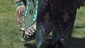Male Pow Wow dancers in colorful outfits, Pow Wow, Malibu, California stock video footage